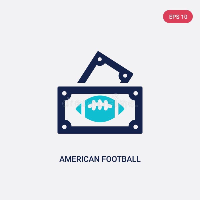 Ícone de duas cores do vetor do bilhete do jogo de futebol americano do conceito do futebol americano bilhete azul isolado do jog ilustração royalty free