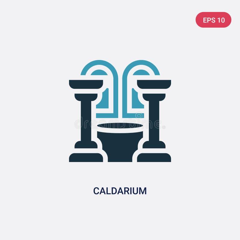Ícone de duas cores do vetor do caldarium do conceito da sauna o símbolo azul isolado do sinal do vetor do caldarium pode ser uso ilustração royalty free