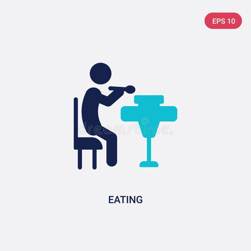 ?cone de duas cores do vetor comer da atividade e do conceito dos passatempos o s?mbolo azul isolado do sinal do vetor comer pode ilustração royalty free