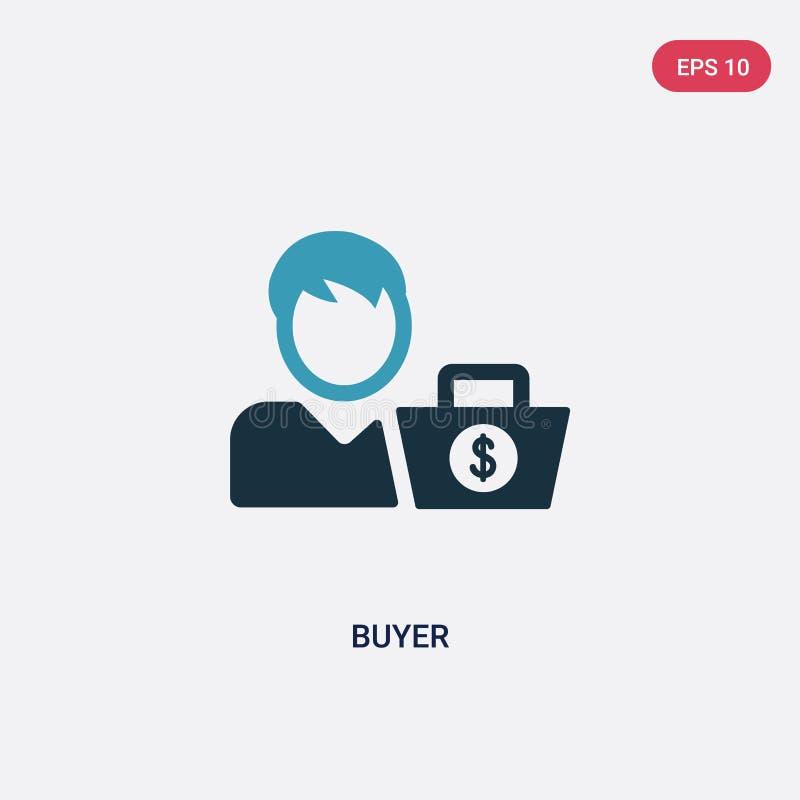 Ícone de duas cores do vetor do comprador do conceito dos métodos do pagamento o símbolo azul isolado do sinal do vetor do compra ilustração do vetor