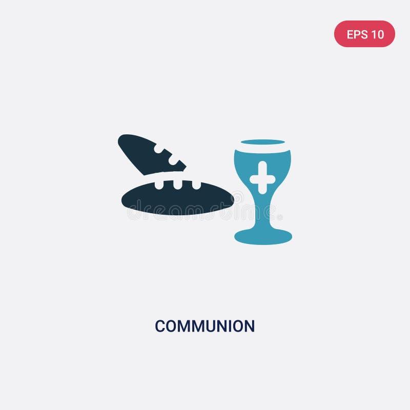 Ícone de duas cores do vetor do comunhão do conceito da religião o símbolo azul isolado do sinal do vetor do comunhão pode ser us ilustração stock