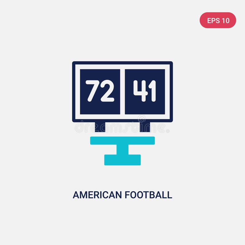 Ícone de duas cores do vetor de contagens do futebol americano do conceito do futebol americano sinal azul isolado do vetor de co ilustração royalty free