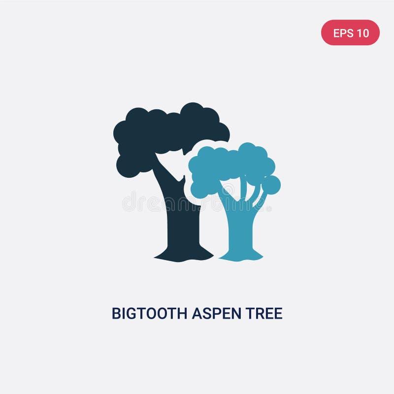 Ícone de duas cores do vetor da árvore do álamo tremedor de bigtooth do conceito da natureza o símbolo azul isolado do sinal do v ilustração do vetor