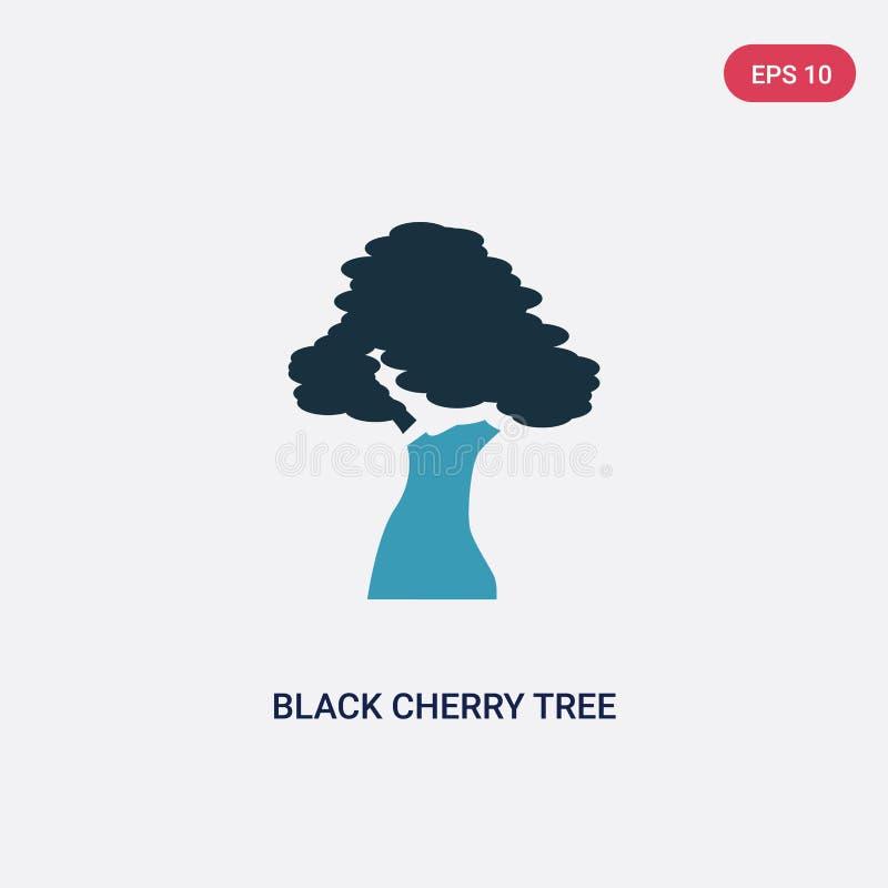 Ícone de duas cores do vetor da árvore de cereja preta do conceito da natureza o símbolo azul isolado do sinal do vetor da árvore ilustração stock