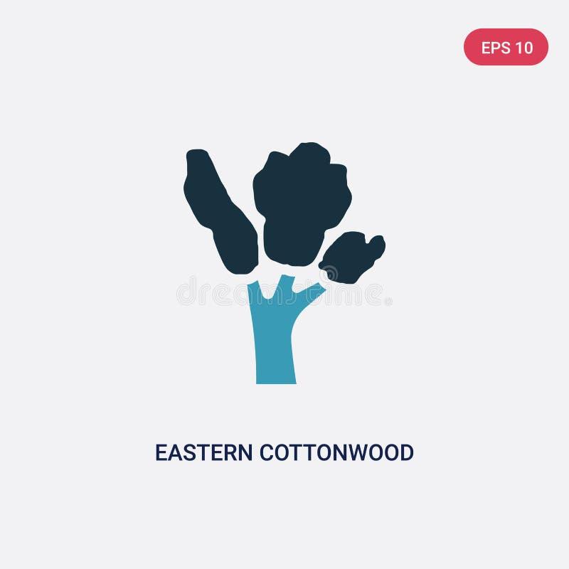 Ícone de duas cores do vetor da árvore do cottonwood oriental do conceito da natureza o símbolo azul isolado do sinal do vetor da ilustração do vetor