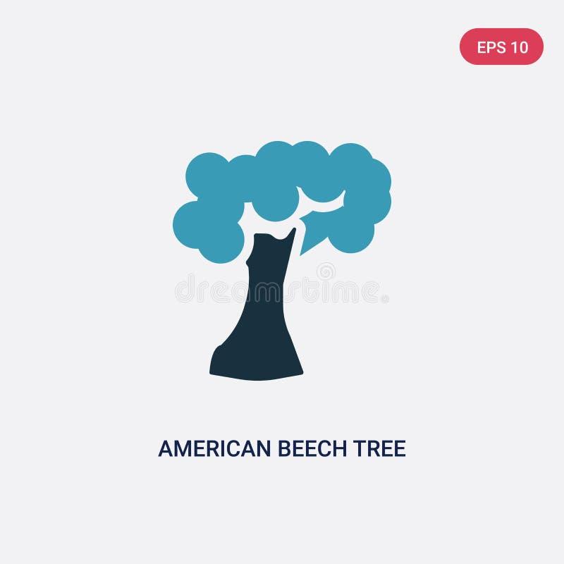 Ícone de duas cores do vetor da árvore de faia americana do conceito da natureza o símbolo azul isolado do sinal do vetor da árvo ilustração do vetor