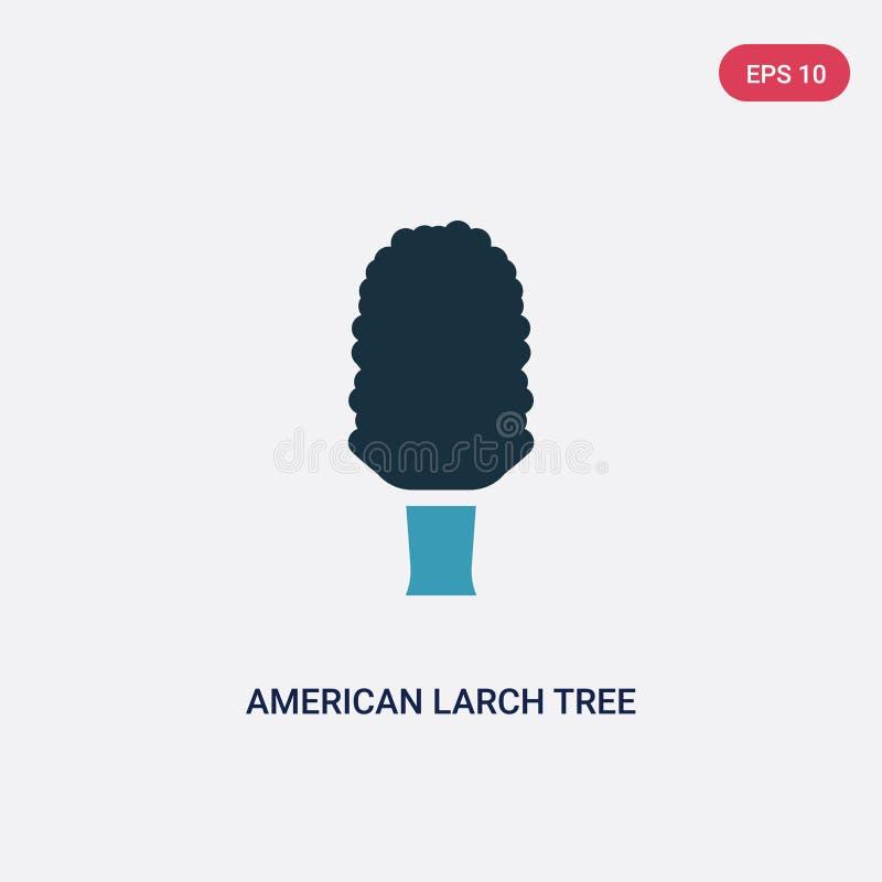 Ícone de duas cores do vetor da árvore de larício americano do conceito da natureza o símbolo azul isolado do sinal do vetor da á ilustração stock