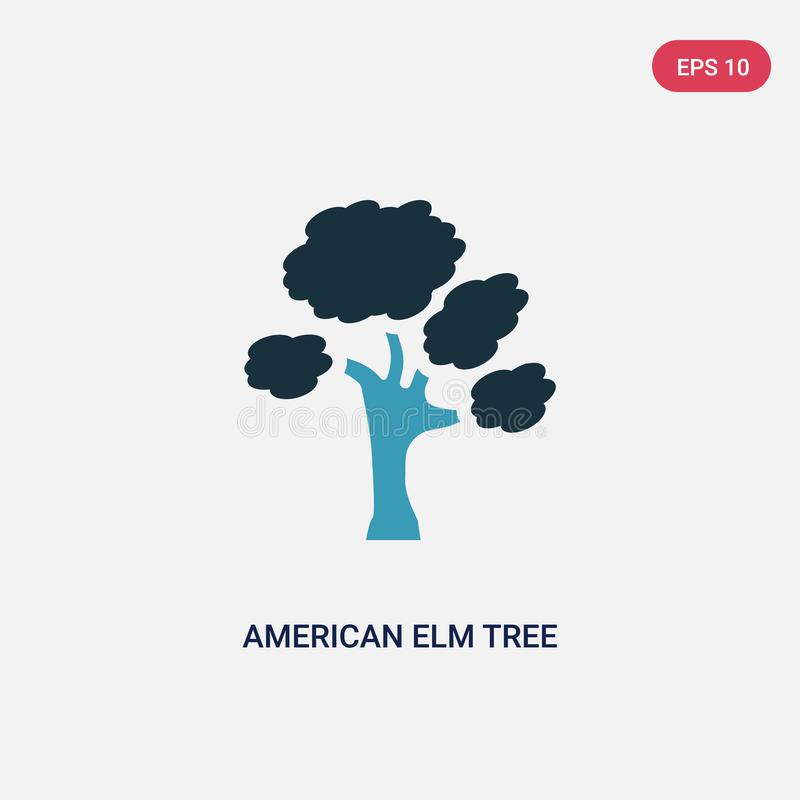 Ícone de duas cores do vetor da árvore de olmo americano do conceito da natureza o símbolo azul isolado do sinal do vetor da árvo ilustração royalty free