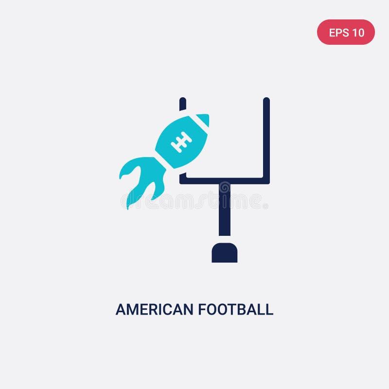 Ícone de duas cores do vetor da anotação do futebol americano do conceito do futebol americano anotação azul isolada do futebol a ilustração royalty free