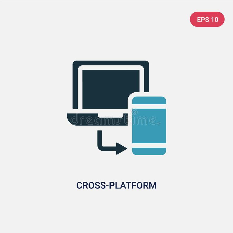 Ícone de duas cores do vetor da cruz-plataforma do conceito de programação o símbolo azul isolado do sinal do vetor da cruz-plata ilustração royalty free
