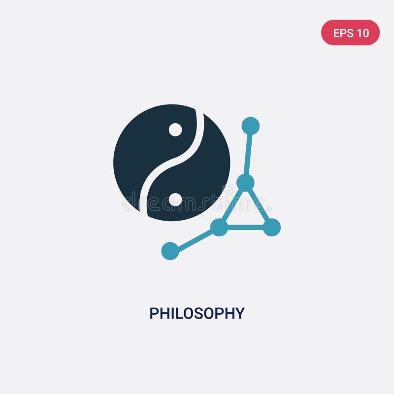 Ícone de duas cores do vetor da filosofia do conceito dos sinais o símbolo azul isolado do sinal do vetor da filosofia pode ser u ilustração stock