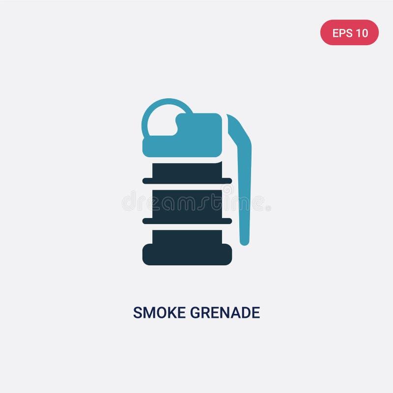 Ícone de duas cores do vetor da granada de fumo do conceito da segurança o símbolo azul isolado do sinal do vetor da granada de f ilustração royalty free