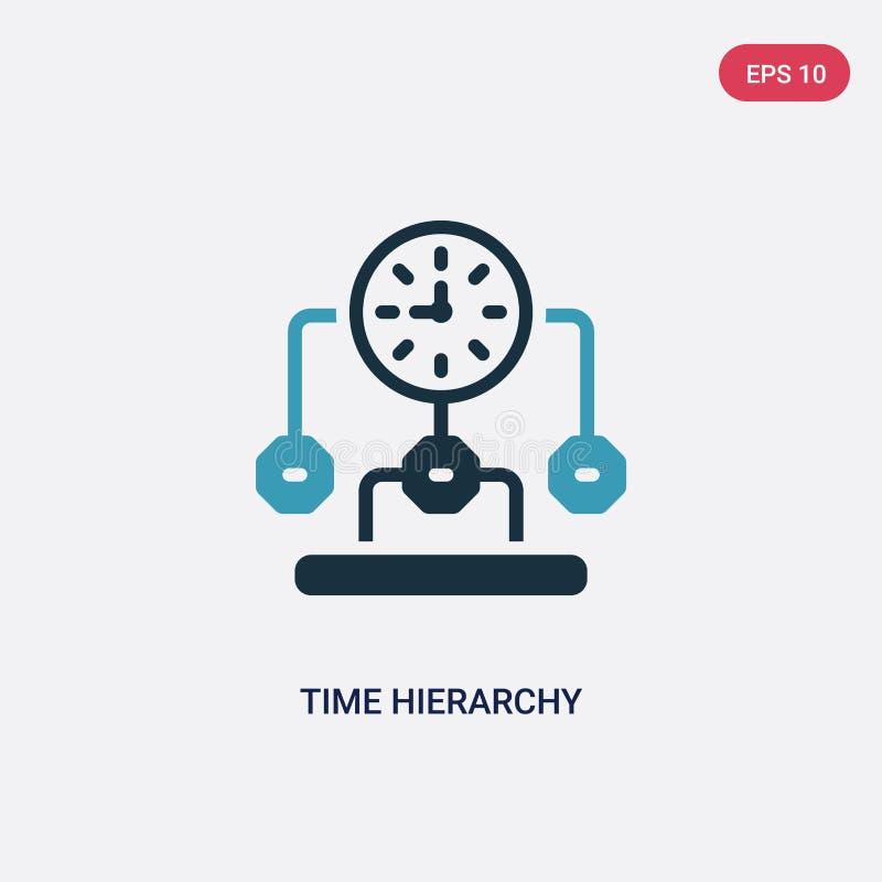 Ícone de duas cores do vetor da hierarquia de tempo do conceito da produtividade o símbolo azul isolado do sinal do vetor da hier ilustração do vetor