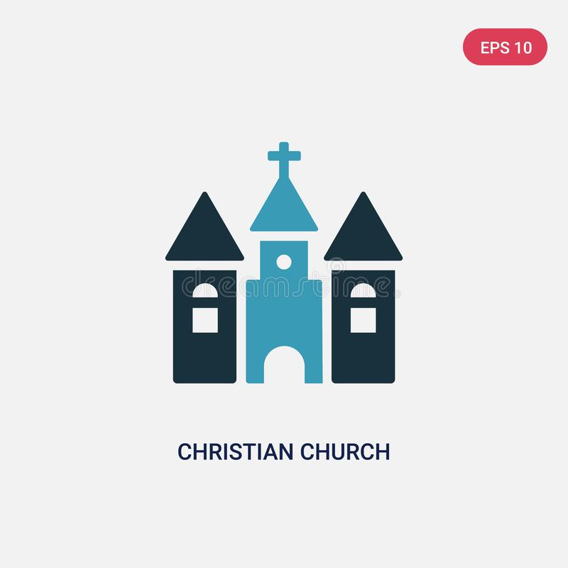 Ícone de duas cores do vetor da igreja cristã das formas e do conceito dos símbolos o símbolo azul isolado do sinal do vetor da i ilustração royalty free