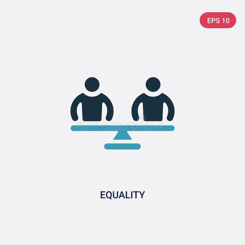 Ícone de duas cores do vetor da igualdade do conceito das habilidades dos povos o símbolo azul isolado do sinal do vetor da igual ilustração stock