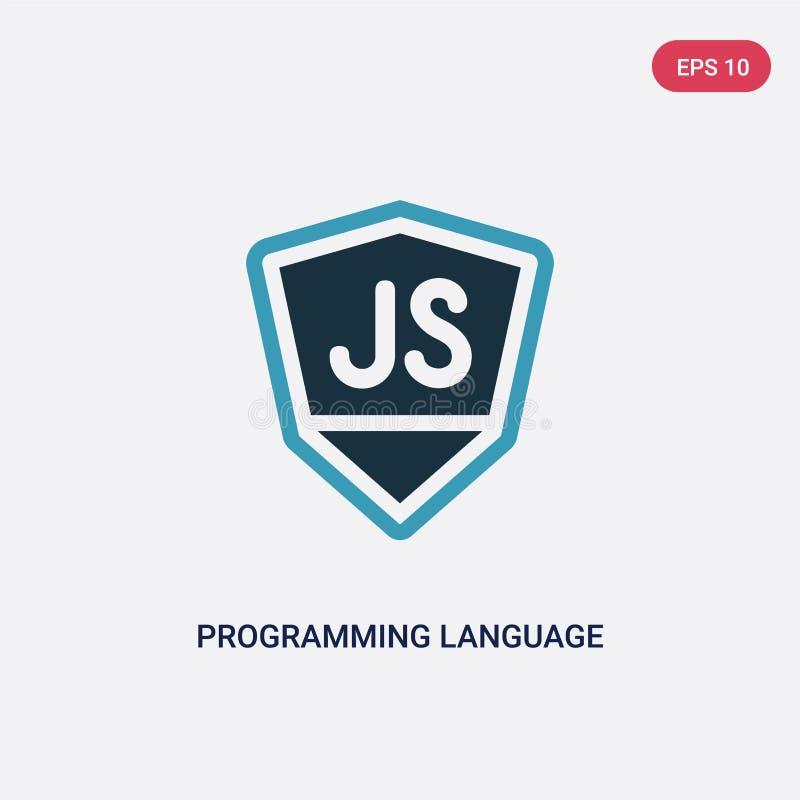 Ícone de duas cores do vetor da linguagem de programação do conceito de programação o símbolo azul isolado do sinal do vetor da l ilustração do vetor