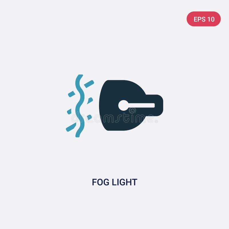Ícone de duas cores do vetor da luz de névoa do conceito das formas o símbolo azul isolado do sinal do vetor da luz de névoa pode ilustração do vetor