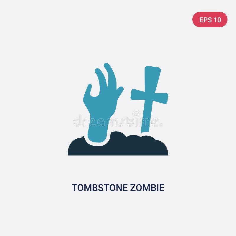 Ícone de duas cores do vetor da mão do zombi da lápide do outro conceito o símbolo azul isolado do sinal do vetor da mão do zombi ilustração stock