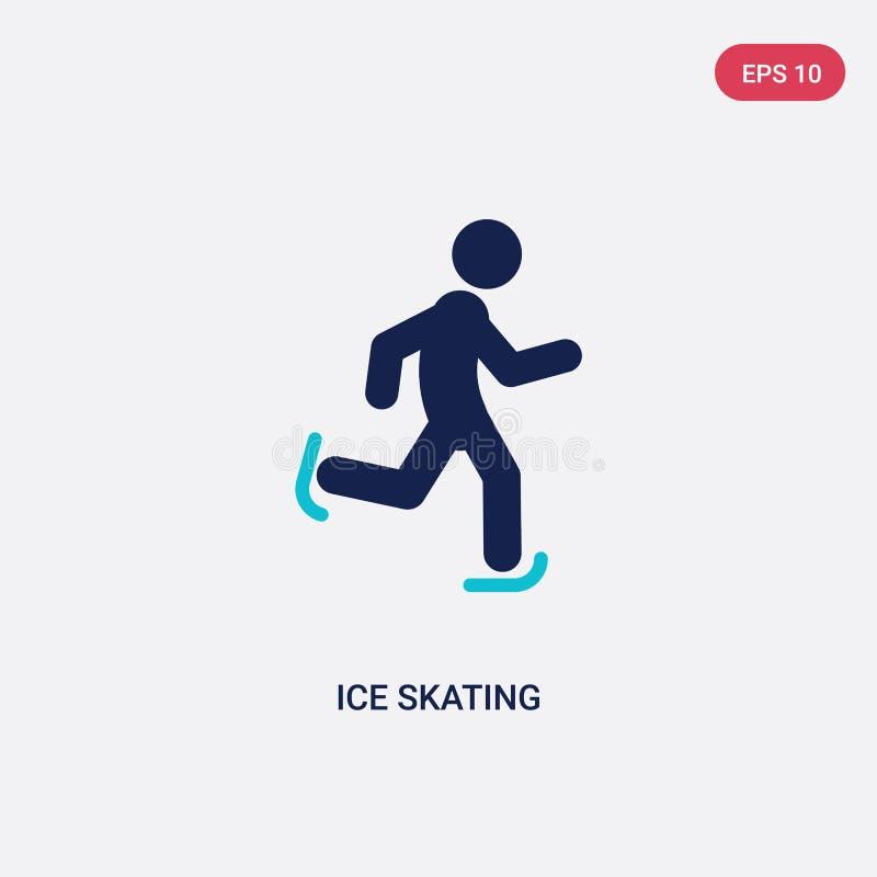 ícone de duas cores do vetor da patinagem no gelo do conceito das atividades o símbolo azul isolado do sinal do vetor da patinage ilustração stock