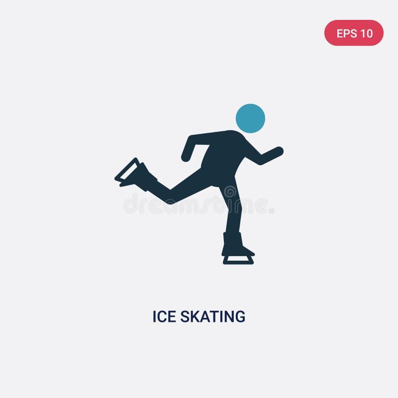 Ícone de duas cores do vetor da patinagem no gelo do conceito dos esportes o símbolo azul isolado do sinal do vetor da patinagem  ilustração royalty free