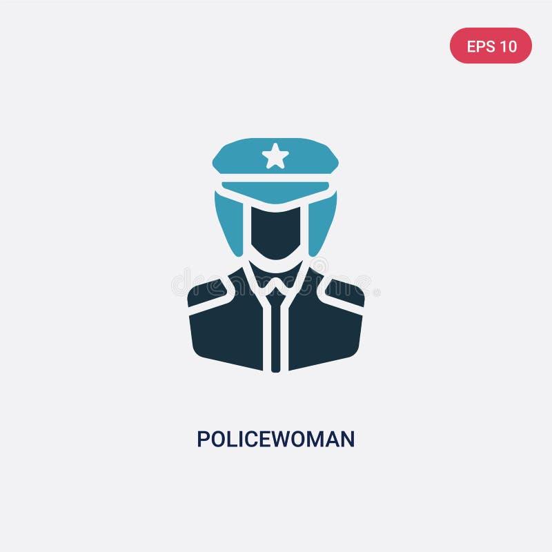 Ícone de duas cores do vetor da policial das profissões & do conceito de trabalhos o símbolo azul isolado do sinal do vetor da po ilustração stock