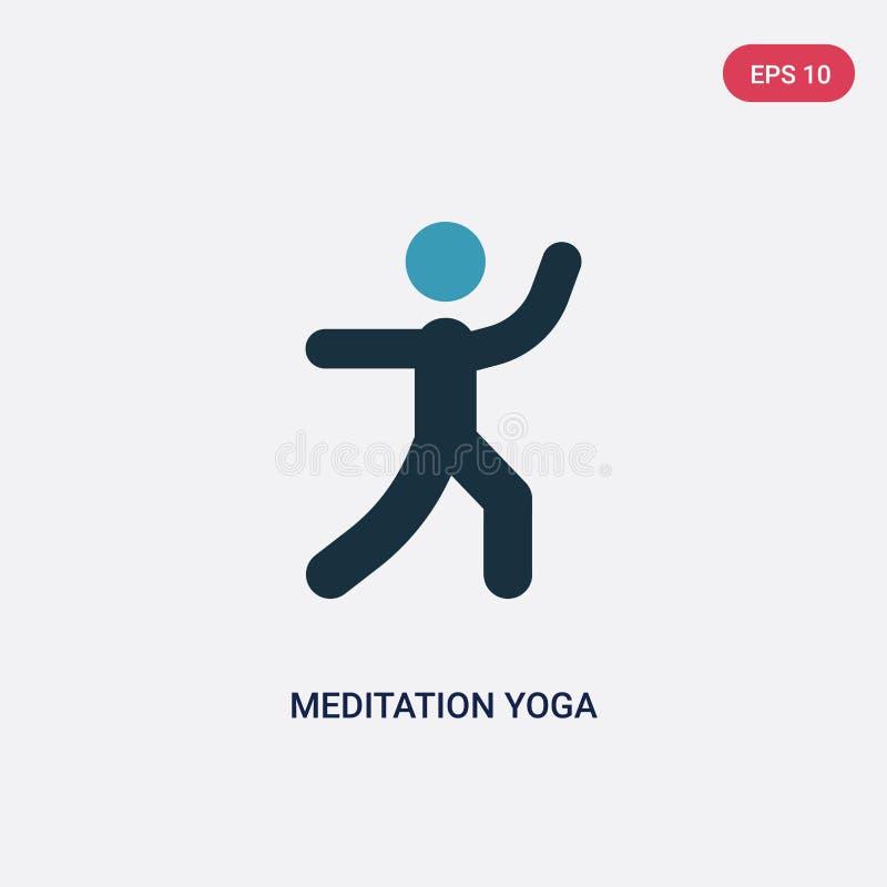 Ícone de duas cores do vetor da postura da ioga da meditação do conceito dos esportes o símbolo azul isolado do sinal do vetor da ilustração do vetor