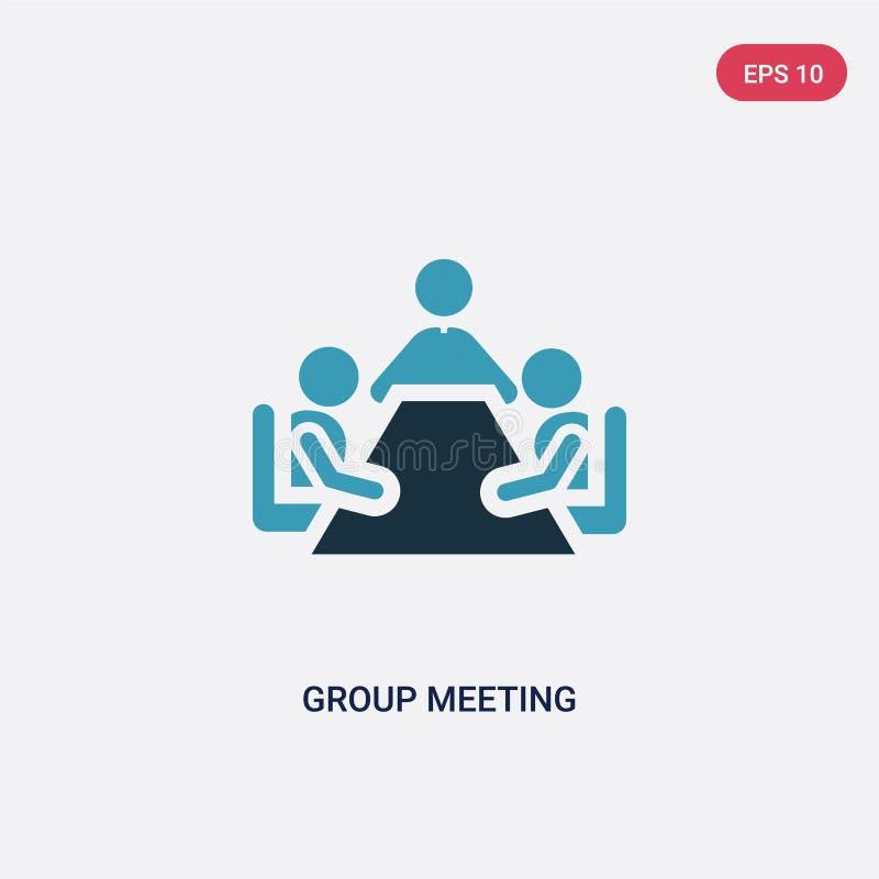Ícone de duas cores do vetor da reunião de grupo do conceito dos povos o símbolo azul isolado do sinal do vetor da reunião de gru ilustração stock