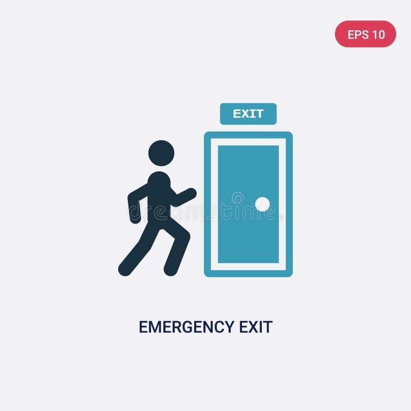 Ícone de duas cores do vetor da saída de emergência do conceito dos sinais o símbolo azul isolado do sinal do vetor da saída de e ilustração royalty free