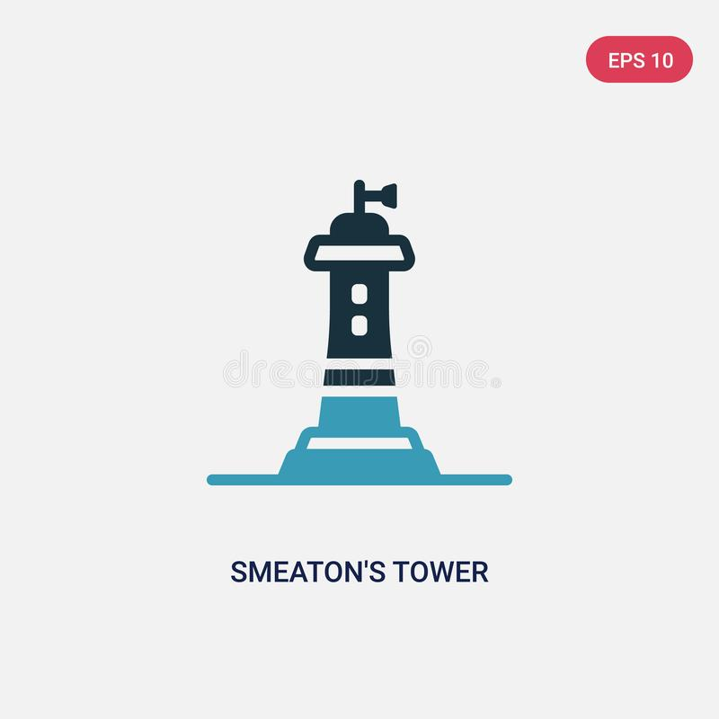 Ícone de duas cores do vetor da torre dos smeaton do outro conceito o símbolo do sinal do vetor da torre dos smeaton azuis isolad ilustração royalty free