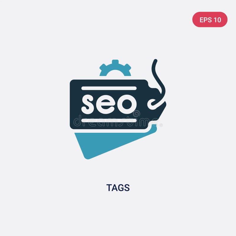 Ícone de duas cores do vetor das etiquetas do conceito da otimização do Search Engine o símbolo azul isolado do sinal do vetor da ilustração do vetor