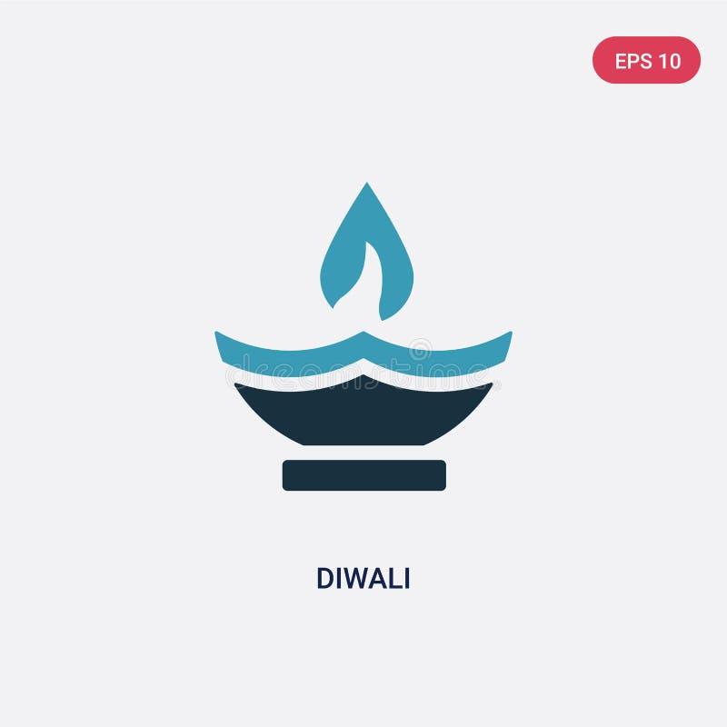 Ícone de duas cores do vetor do diwali do conceito da religião o símbolo azul isolado do sinal do vetor do diwali pode ser uso pa ilustração stock