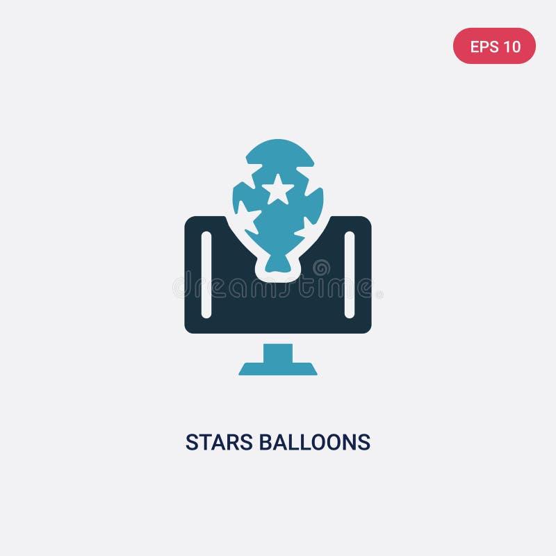 Ícone de duas cores do vetor dos balões das estrelas do conceito dos trabalhos em rede o símbolo isolado do sinal do vetor dos ba ilustração do vetor