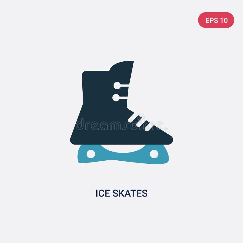 Ícone de duas cores do vetor dos patins de gelo do conceito dos esportes o símbolo azul isolado do sinal do vetor dos patins de g ilustração royalty free