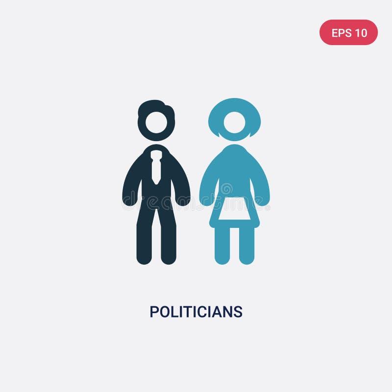 Ícone de duas cores do vetor dos políticos do conceito político o símbolo azul isolado do sinal do vetor dos políticos pode ser u ilustração royalty free