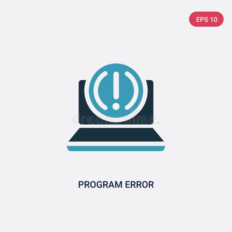 Ícone de duas cores do vetor do erro do programa do conceito de programação o símbolo azul isolado do sinal do vetor do erro do p ilustração royalty free