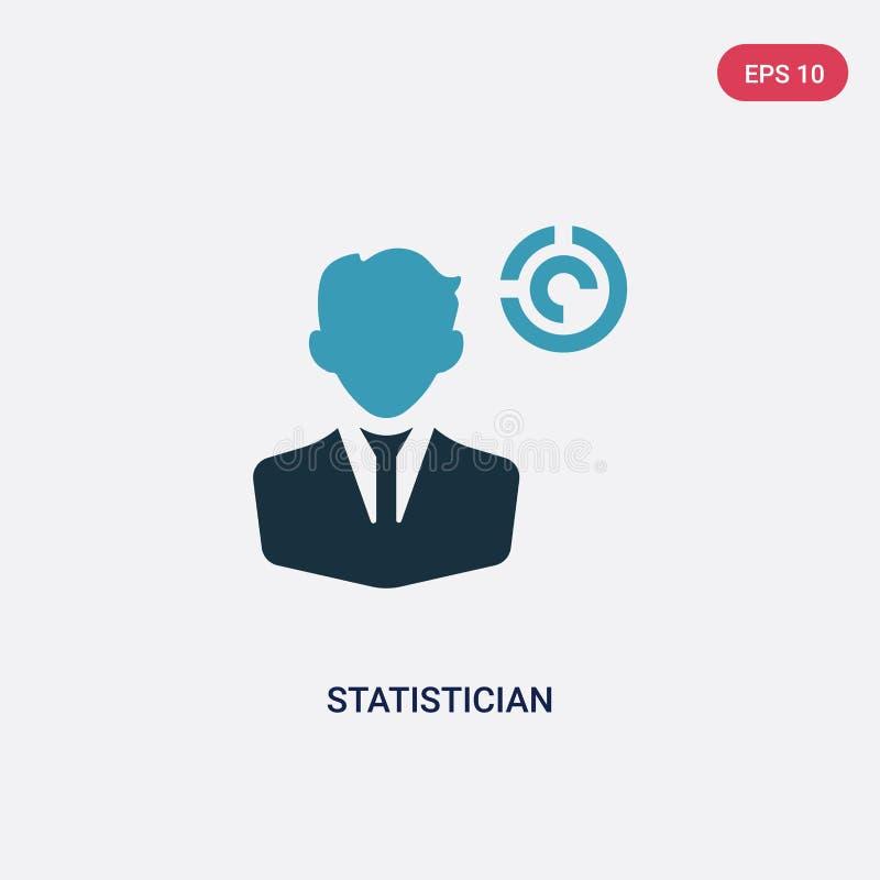 Ícone de duas cores do vetor do estatístico do conceito das profissões o símbolo azul isolado do sinal do vetor do estatístico po ilustração royalty free
