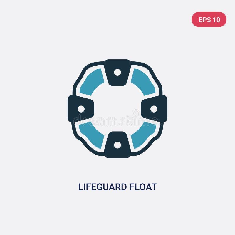 Ícone de duas cores do vetor do flutuador da salva-vidas do conceito da segurança o símbolo azul isolado do sinal do vetor do flu ilustração do vetor