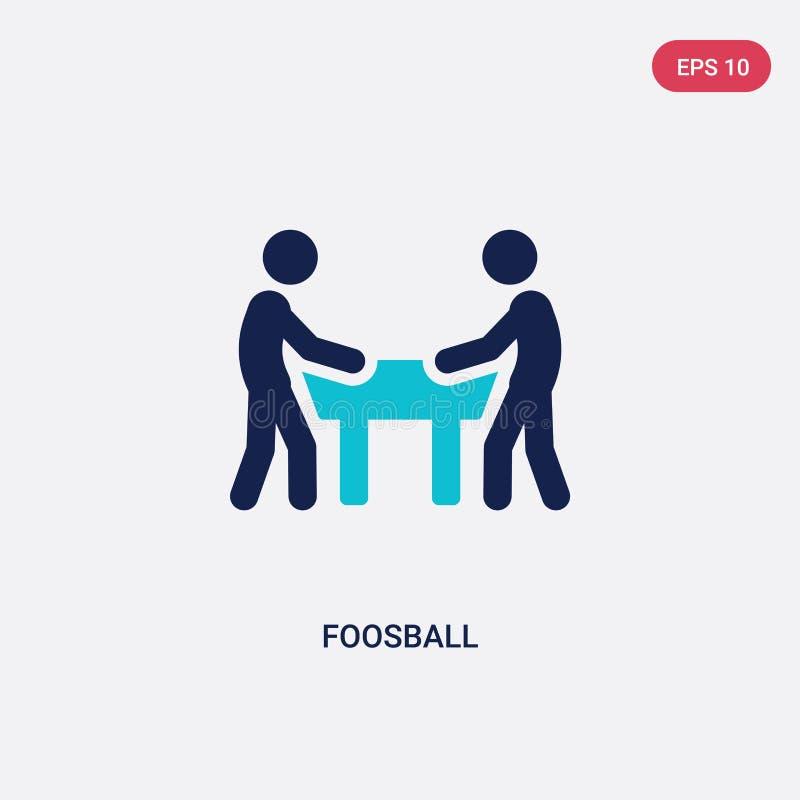 ícone de duas cores do vetor do foosball do conceito das atividades exteriores o símbolo azul isolado do sinal do vetor do foosba ilustração stock
