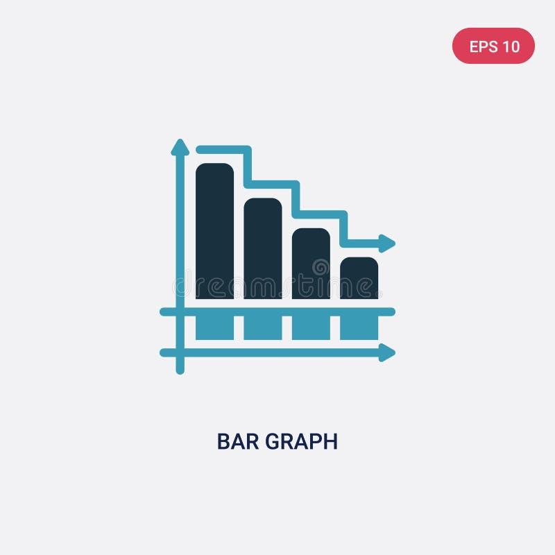 Ícone de duas cores do vetor do gráfico de barra do conceito da produtividade o símbolo azul isolado do sinal do vetor do gráfico ilustração royalty free