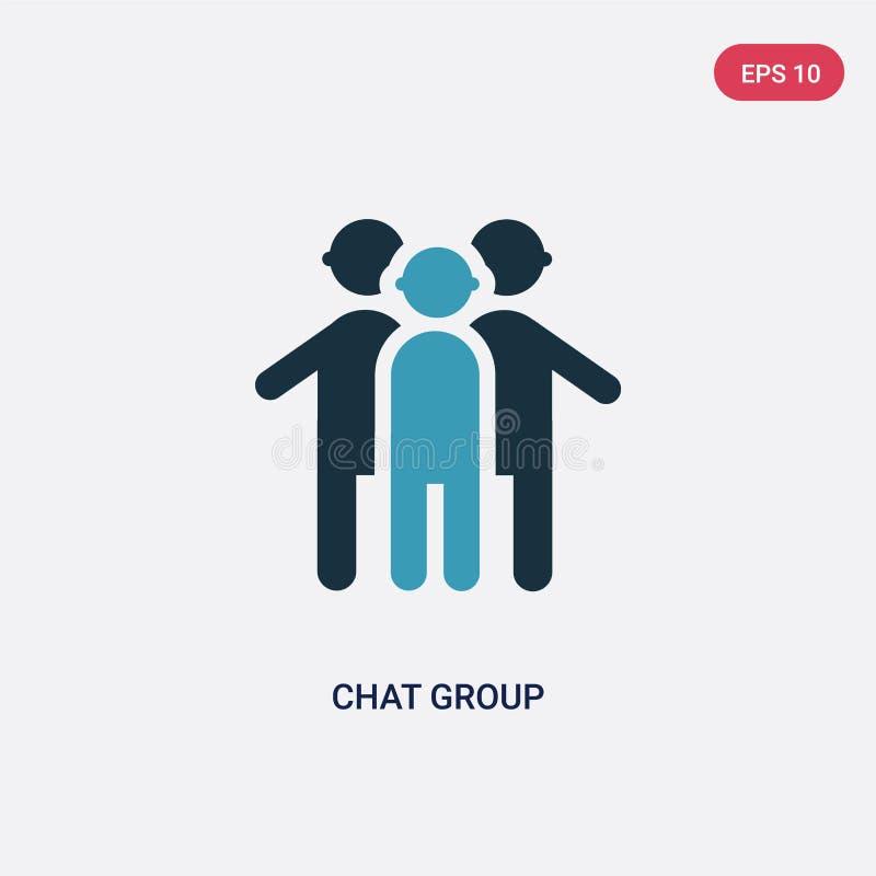 Ícone de duas cores do vetor do grupo de chat do conceito dos povos o símbolo azul isolado do sinal do vetor do grupo de chat pod ilustração do vetor