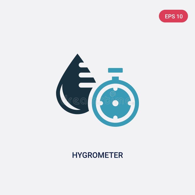 Ícone de duas cores do vetor do higrômetro do conceito da sauna o símbolo azul isolado do sinal do vetor do higrômetro pode ser u ilustração stock
