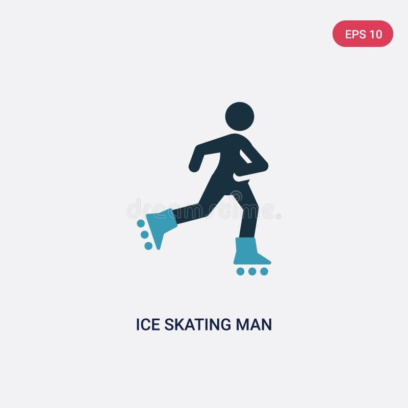 ?cone de duas cores do vetor do homem da patinagem no gelo do conceito dos esportes o s?mbolo azul isolado do sinal do vetor do h ilustração stock