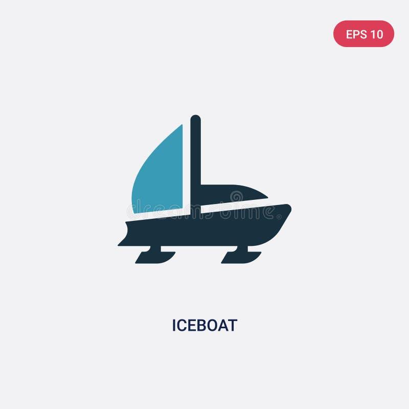 Ícone de duas cores do vetor do iceboat do conceito náutico o símbolo azul isolado do sinal do vetor do iceboat pode ser uso para ilustração stock