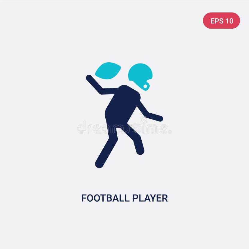 Ícone de duas cores do vetor do jogador de futebol do conceito do futebol americano o símbolo azul isolado do sinal do vetor do j ilustração do vetor
