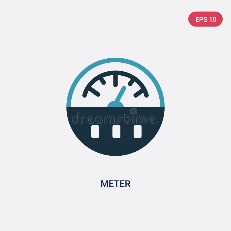 Ícone de duas cores do vetor do medidor do conceito esperto da casa o símbolo azul isolado do sinal do vetor do medidor pode ser  ilustração do vetor