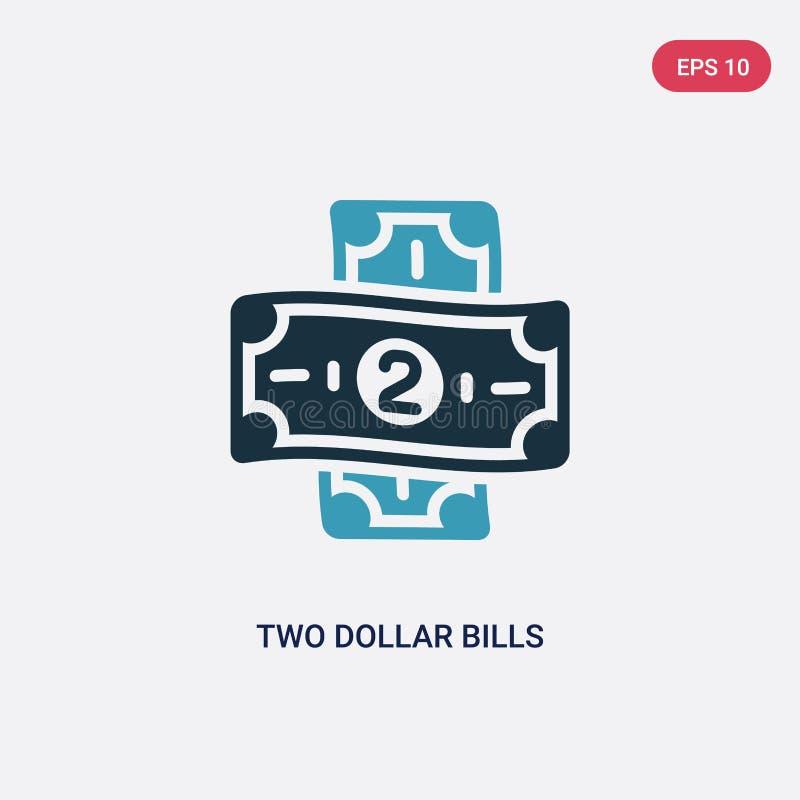 Ícone de duas cores do vetor de duas notas de dólar do conceito da segurança o símbolo azul isolado do sinal do vetor de duas not ilustração stock