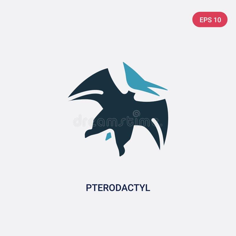 Ícone de duas cores do vetor do pterodátilo do conceito da Idade da Pedra o símbolo azul isolado do sinal do vetor do pterodátilo ilustração do vetor