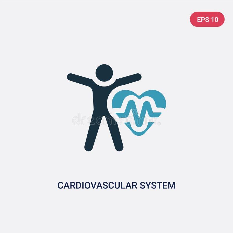 Ícone de duas cores do vetor do sistema cardiovascular do conceito da sauna o símbolo azul isolado do sinal do vetor do sistema c ilustração do vetor