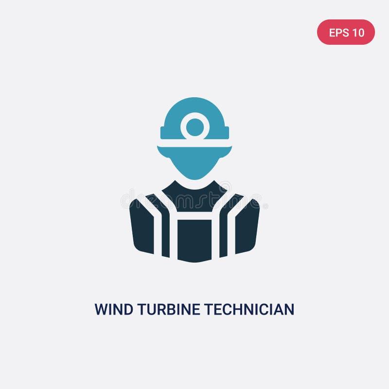 Ícone de duas cores do vetor do técnico da turbina eólica do conceito das profissões símbolo azul isolado do sinal do vetor do té ilustração royalty free