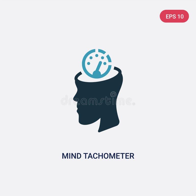 Ícone de duas cores do vetor do tacômetro da mente do conceito da produtividade o símbolo azul isolado do sinal do vetor do tacôm ilustração stock